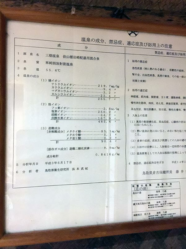 三朝温泉依山楼岩崎山の湯 温泉成分分析表