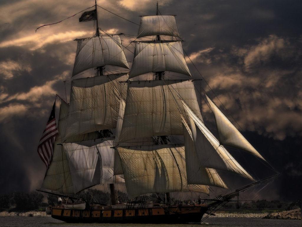 アメリカの国旗を掲げる歴史的に古い船