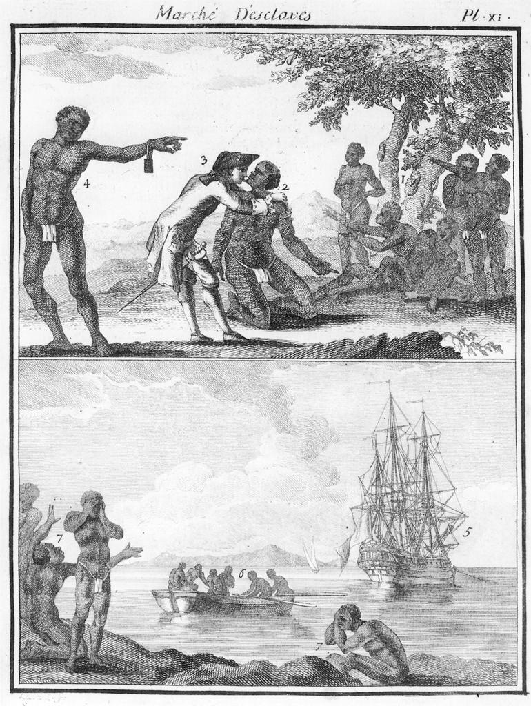 奴隷商人が汗の塩分濃度が低い黒人を優先して船でアメリカ大陸に運ぶ様子のイラスト