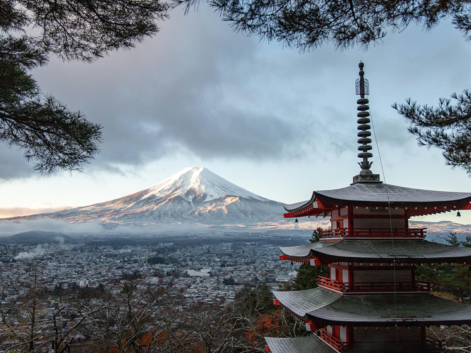 富士山と日本の仏教寺院