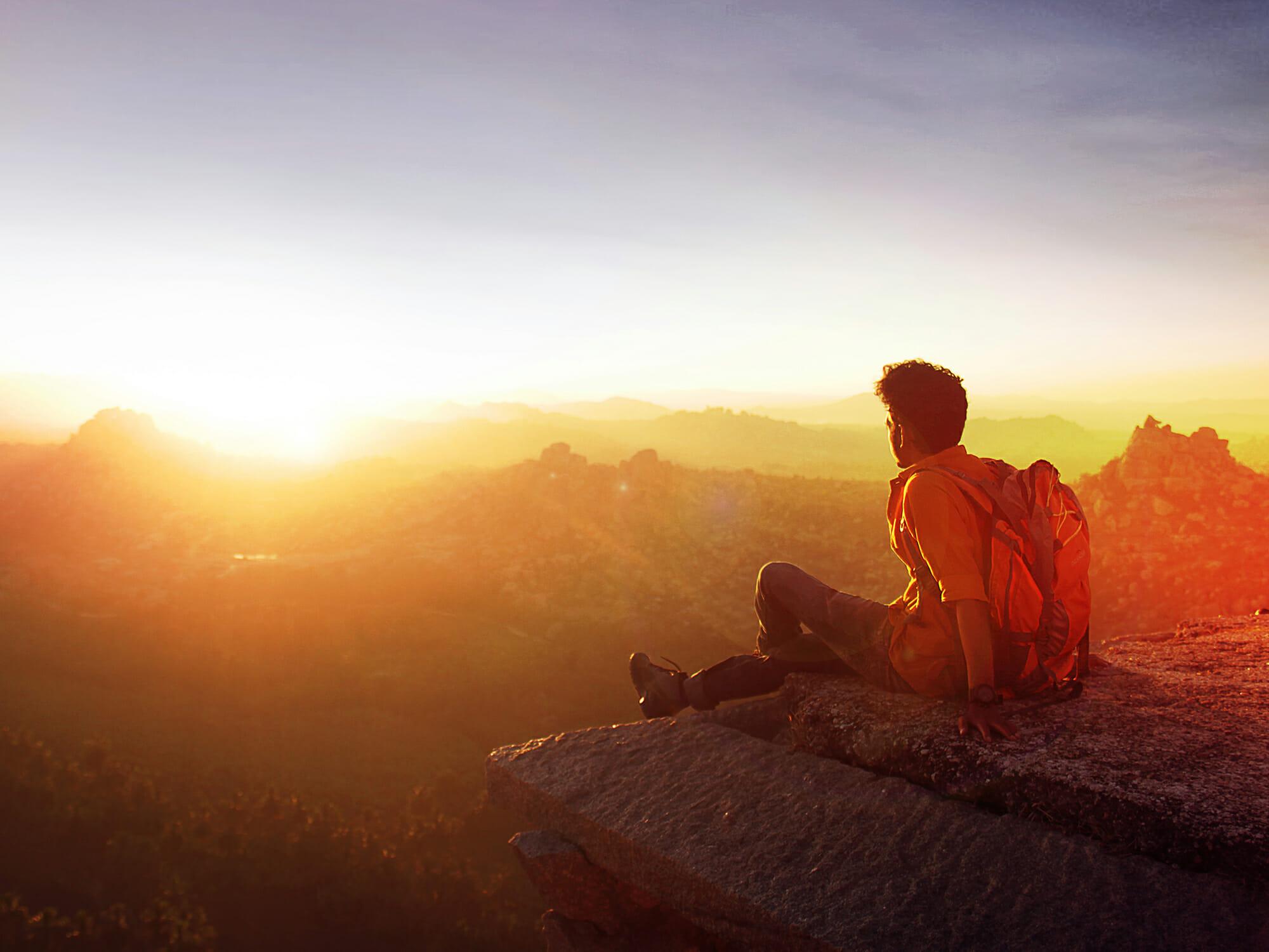 山頂から望む朝日